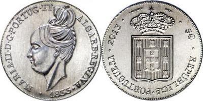 23 сентября 1833 года Марии II была провозглашена королевой Португалии (Portugal-2013-5-euro-Cu-Ni и 5-euro-Au).jpg
