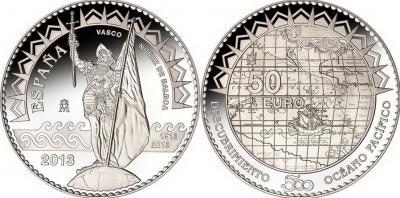 25 сентября 1513 года считается открытием Тихого океана (Spain-2013-50-euro).jpg