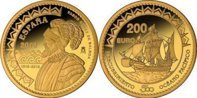 25 сентября 1513 года считается открытием Тихого океана (Spain-2013-200-euro).jpg