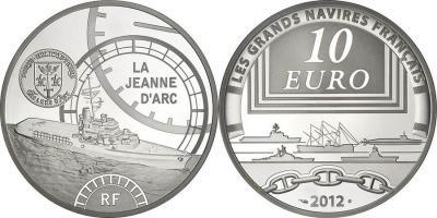 30 сентября 1961 года был спущен на воду вертолётоносец «Жанна д'Арк»(france-2012-10-euro).jpg