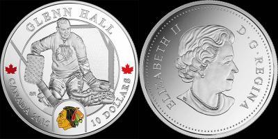 3 октября 1931 года родился - Гленн Холл (Канада, 10 долларов, 2015, тираж - 8000).jpg