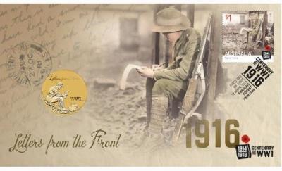 Австралия 1 доллар 2016 Почтальоны-й мировой войны(карточка).jpg