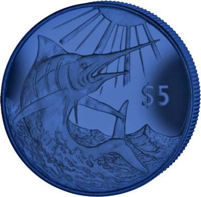 Виргинские острова 5 долларов 2017 год «Голубой марлин» титан (реверс).jpg