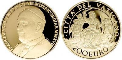 Ватикан 200 евро 2016 год золото Справедливость.jpg