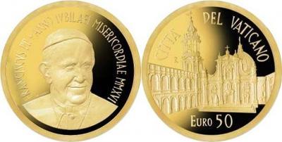 Ватикан 50 евро 2016 год золото Дом Божией Матери в Лорето.jpg