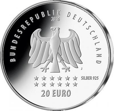 Германия 20 евро 2016 год «175 лет гимну Германии» (аверс).jpg
