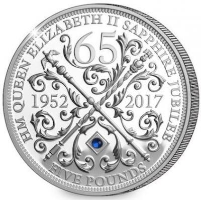 Гернси 5 фунтов 2017 год «Юбилей Елизаветы II - 65 лет» (реверс).jpg