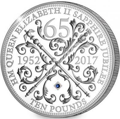 Гернси 10 фунтов 2017 год «Юбилей Елизаветы II - 65 лет» (реверс).jpg