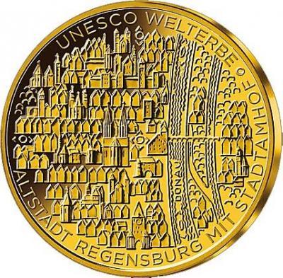 Германия 100 евро 2016 год «Всемирное наследие ЮНЕСКО. Старый город Регенсбург» (реверс).jpg