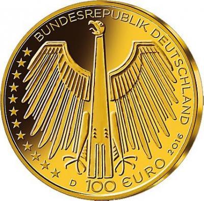 Германия 100 евро 2016 год «Всемирное наследие ЮНЕСКО. Старый город Регенсбург» (аверс).jpg