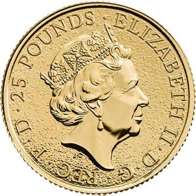 Великобритания 25 фунтов  «Звери королевы» (аверс).jpg
