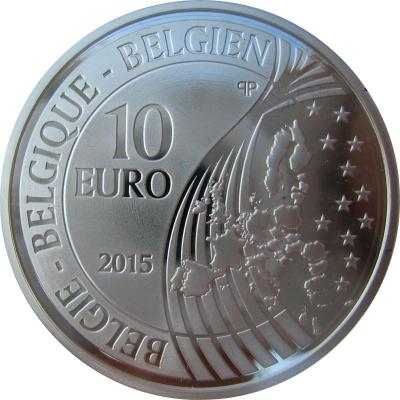 Бельгия 10 евро 2015 год «Мир» (аверс).jpg