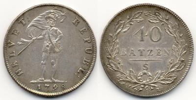 Helvetische Republik  1798-1803 Taler (40 Batzen) 1798 S, Solothurn Dav. 1771 (1250 евро Синкона Мюнхен).jpg
