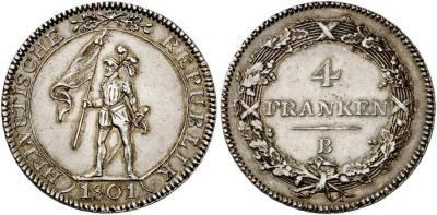 HELVETISCHE REPUBLIK 4 Franken (Neutaler) 1801 B, Bern. D.T. 5 b; Dav. 359..jpg
