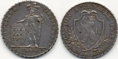 SWITZERLAND Appenzell. 4 Franken 1812 Bern Dav. 360.jpg