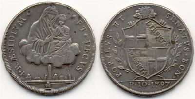 ITALIEN BOLOGNA Provisorische Regierung, 1796-1797. Scudo (10 Paoli) 1797. Dav. 1359.jpg