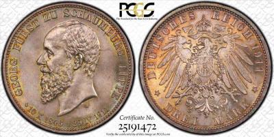 Шаумбург Липпе. 3 марки 1911 года. PCGS MS65..jpg