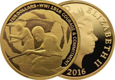 16 мая 1917 года закончилась  битва при Аррасе (Новая Зеландия  2016, 10$, золото «Мужество и долг», в рамках пятилетней монетной программы «Первая мировая война». Тираж - 500 шт.)..jpg