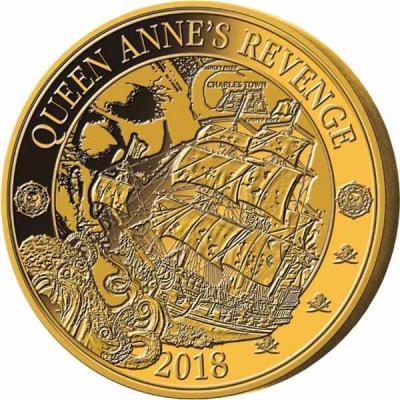 Барбадос 25 центов 2018 год «Корабль пиратов» (реверс).jpg