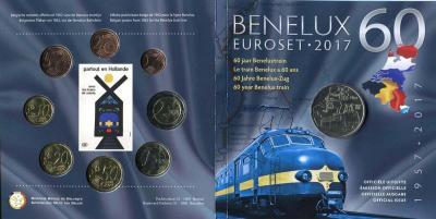 Монетный набор BeNeLux 2017 BU. Medal - 60 year BeNeLux train.jpg