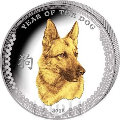 Палау 5 долларов 2018 год «Год Собаки» золочение (реверс).jpg