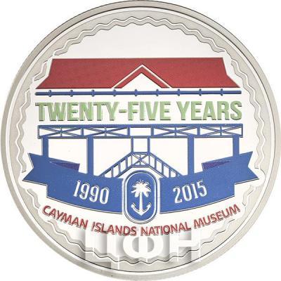 Острова Кайман 5 долларов 2015 год «25-летие Национального музея Каймановых островов» (реверс).jpg
