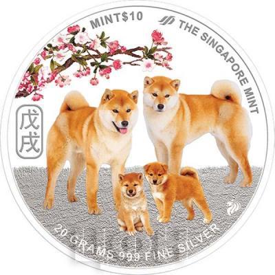 10 сингапурских долларов 2018 год «Год собаки» (аверс).jpg