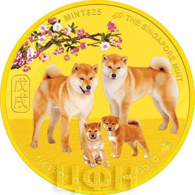 25 сингапурских долларов 2018 год «Год собаки» (аверс).jpg