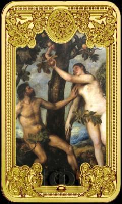 Ниуэ 50 долларов 2015 год вертикаль «Адам и Ева (картина Тициана)» (реверс).jpg