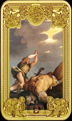 Ниуэ 50 долларов 2015 год вертикаль «Давид и Голиат фреска Тициана» (реверс).jpg