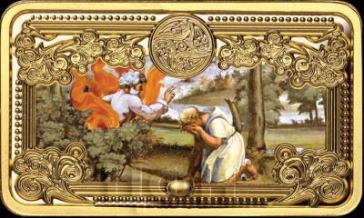 Ниуэ 50 долларов 2015 год горизонталь «Моисей и Неопалимая купина, фреска из лоджии Ватиканского дворца в Риме» (реверс).jpg