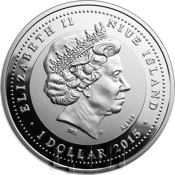 Серебряная монета 1 доллар королева елизавета санта мария эмбанефть