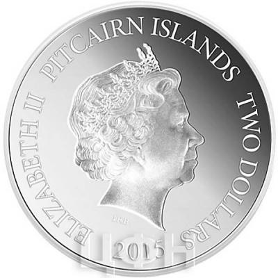 Острова Питкэрн2 доллара 2015 год  «Год Козы» (аверс).jpg