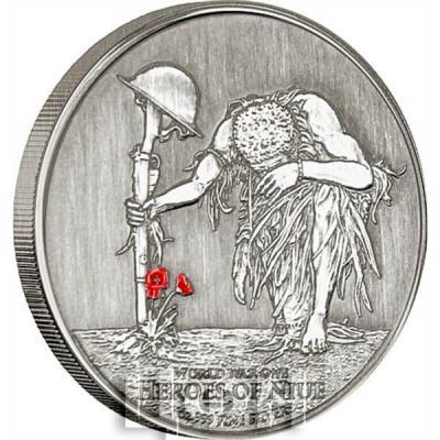 Ниуэ 2 доллара 2015 год «Первая Мировая Война. Герои Ниуэ» (реверс).jpg