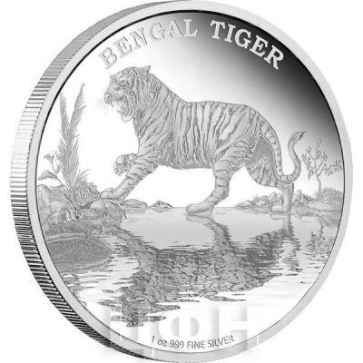 Ниуэ 2 доллара 2015 год «Бенгальский тигр» (реверс).jpg