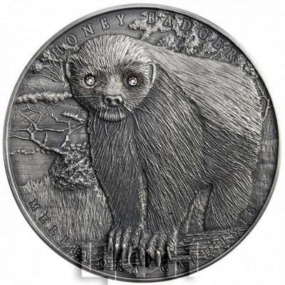Ниуэ 2 доллара 2015 год «МЕДОЕД Храбрые животные» (реверс).jpg