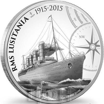 Ниуэ 2 доллара  2015 год. «Лузитания» (реверс).jpg