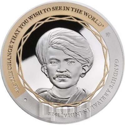 Ниуэ 1 доллар 2015 год «Ганди, Прибытие в Индию» (реверс)..jpg
