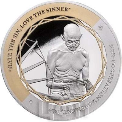 Ниуэ 1 доллар 2015 год «Ганди, Ненасильственное сопротивление» (реверс)..jpg