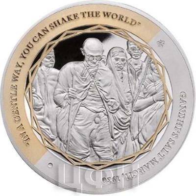 Ниуэ 1 доллар 2015 год «Ганди, Соляной марш» (реверс)..jpg