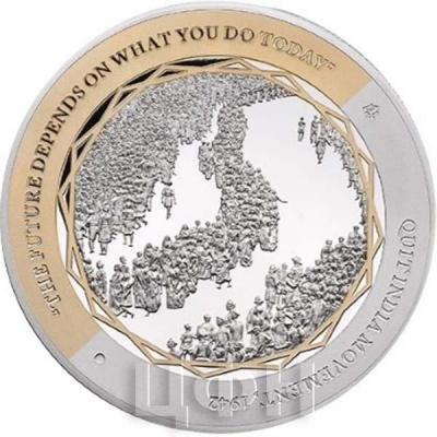 Ниуэ 1 доллар 2015 год «Ганди, Августовское движение» (реверс).jpg