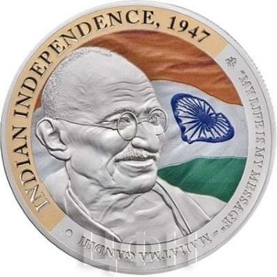 Ниуэ 1 доллар 2015 год «Ганди, Индийская независимость» (реверс).jpg