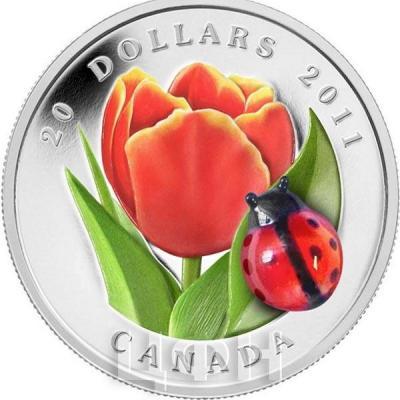 Канада 20 долларов 2011 года «Тюльпан и божья коровка».jpg