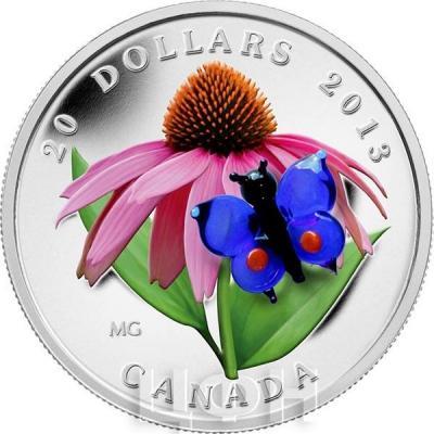 Канада 20 долларов 2013 года «Эхинацея и бабочка».jpg