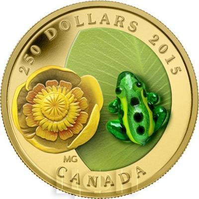 Канада 250 долларов 2015 года «Водяная лилия и леопардовая лягушка».jpg