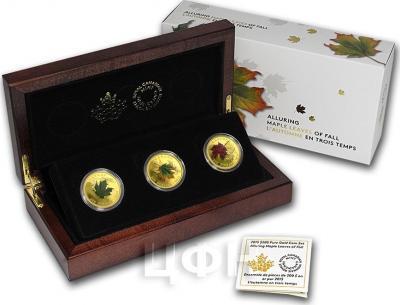 Канада 3 монеты по 200 долларов 2015 года «Осенний листопад кленовых листьев» набор.jpg