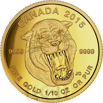 Канада 5 долларов 2015 года «Саблезубый тигр» реверс.jpg