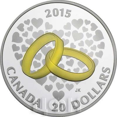 Канада 20 долларов 2015 года «Свадьба» реверс.jpg