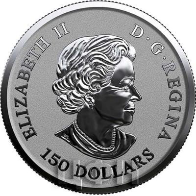 Канада 150 долларов Елизавета II  (аверс).jpg