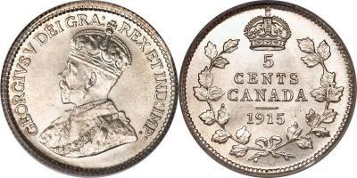 Канада 5 центов 1915 год  Георг V.jpg